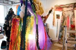 The Salient Memory Manipulating Pendant Lamp hangs in Isabelle's studio