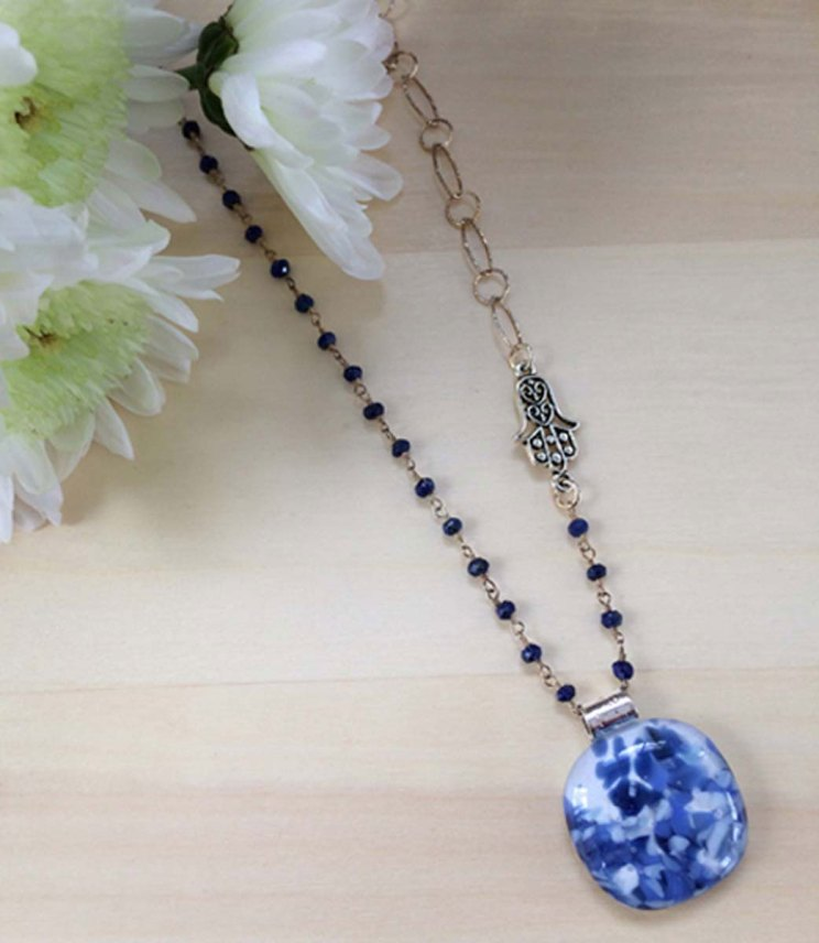 Sara-Beames-Blue-Cabochon-Gem-&-Silver-Chain